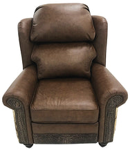 Load image into Gallery viewer, Rustic Western Cowhide Oversized Wingback Crocodile Recliner