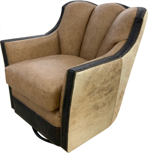 Telluride Contemporary Rustic Channelback Swivel Glider