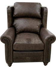 Load image into Gallery viewer, Classic Croc Rustic Leather Wingback Recliner