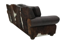 Load image into Gallery viewer, Split Rail 8 Foot 3 Cushion Western Cowhide Sofa