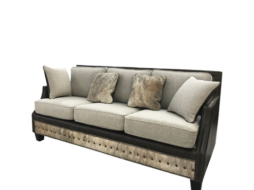 Adrian Contemporary Western Cowhide Sofa - Birch