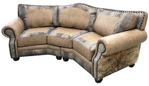 Palomino Curved Western Cowhide Sofa