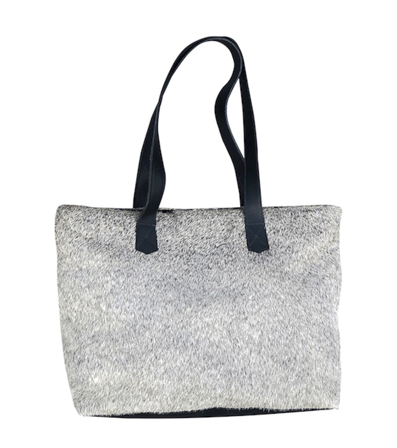 Cowhide Tote - Gray