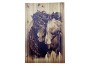 Mare and Stallion Distressed Look Wall Panel
