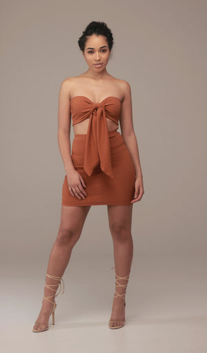 'Sofia' Knotted Bandeau Top in Ginger - Sincerely Nude