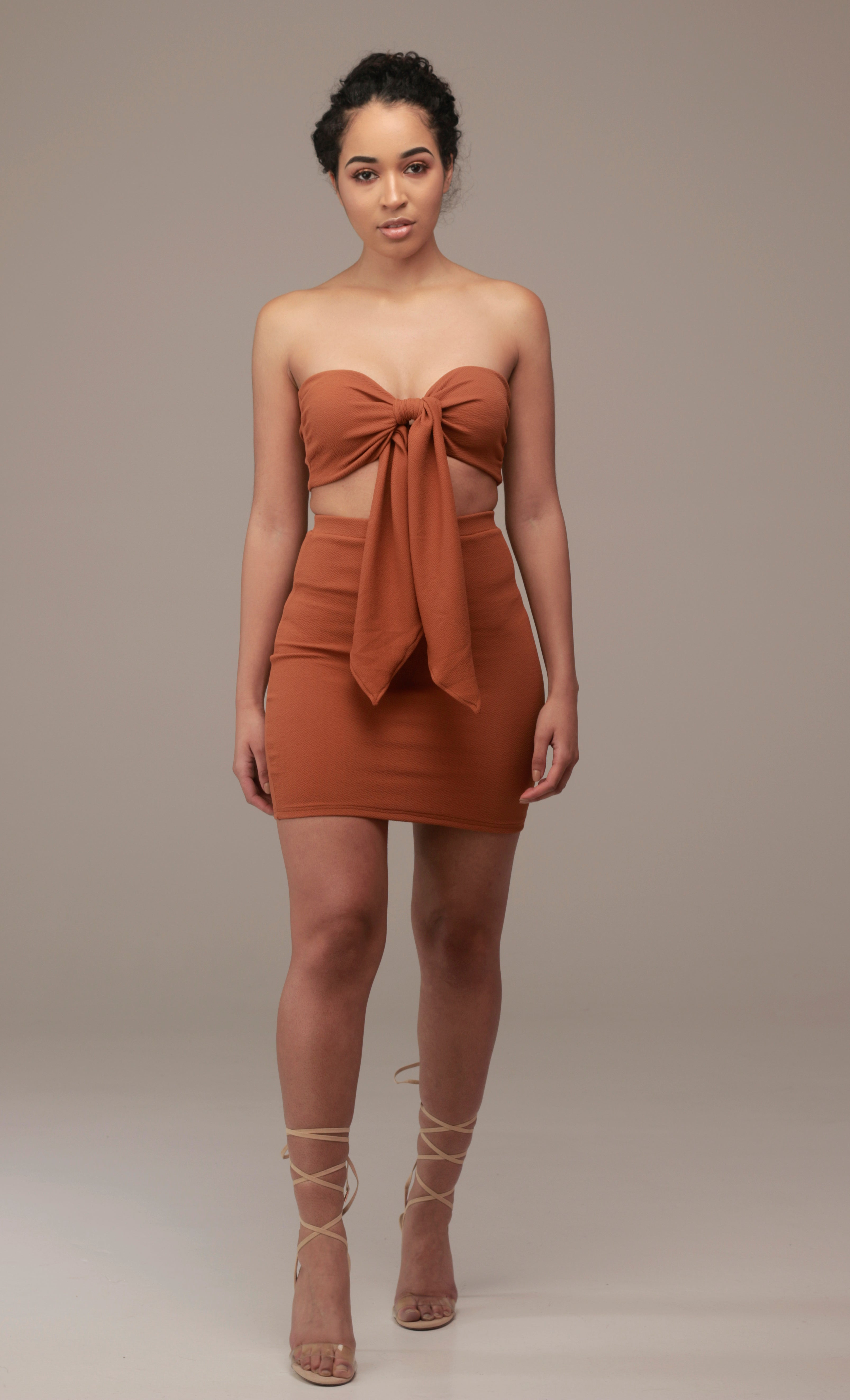Luna Mini Skirt In Ginger - Sincerely Nude