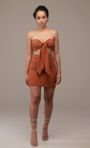 'Luna' Mini Skirt in Ginger - Sincerely Nude