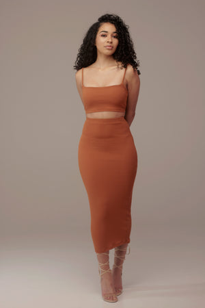 'Draya' Midi Skirt in Ginger - Sincerely Nude
