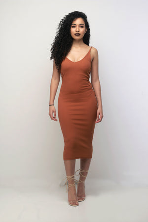'Nakita' Midi Dress in Ginger - Sincerely Nude