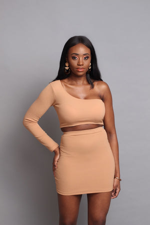 Camille One Shoulder Crop Top in Mink - Sincerely Nude