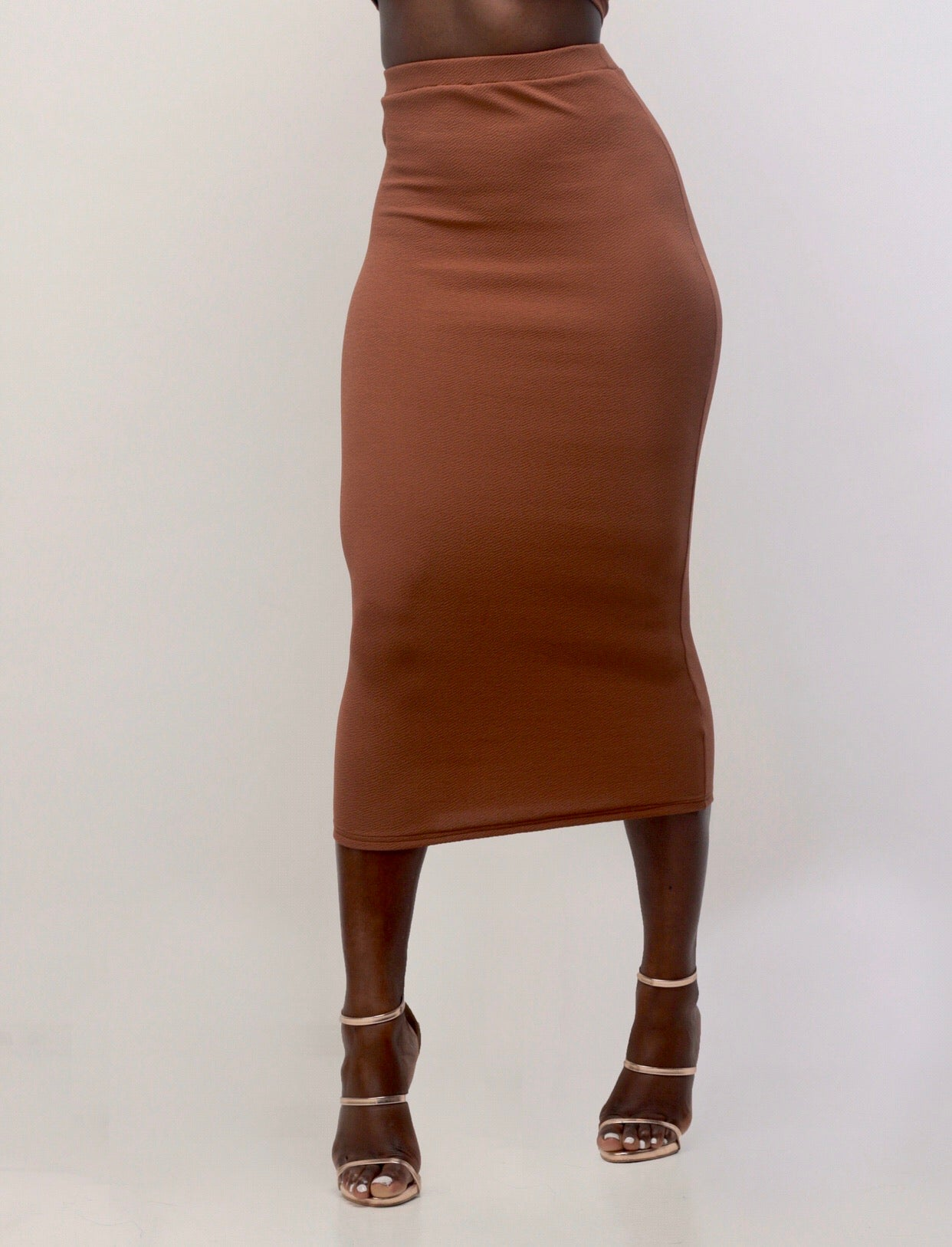 Draya Midi Skirt In Ebony - Sincerely Nude