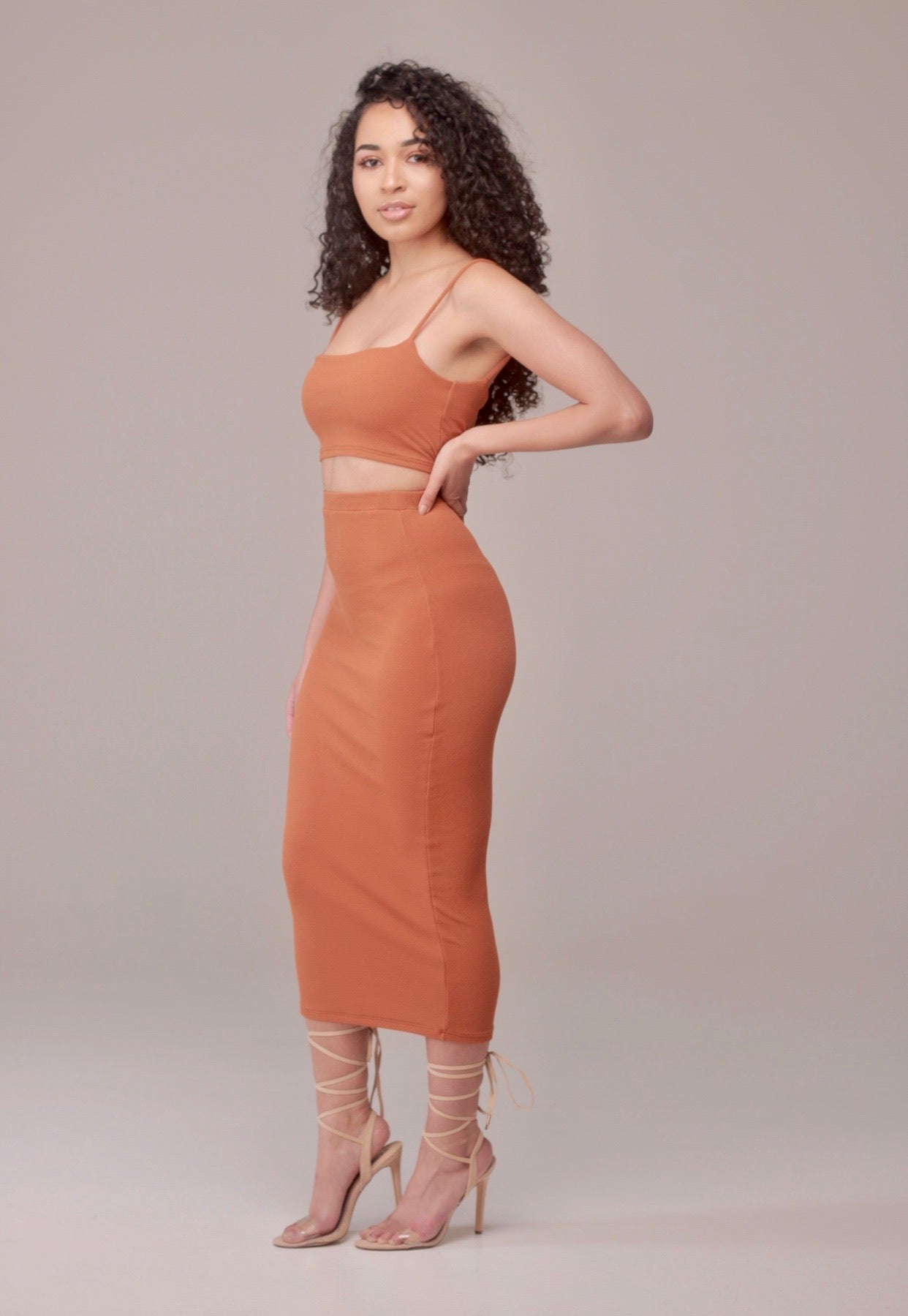 Draya Midi Skirt in Ginger - Sincerely Nude