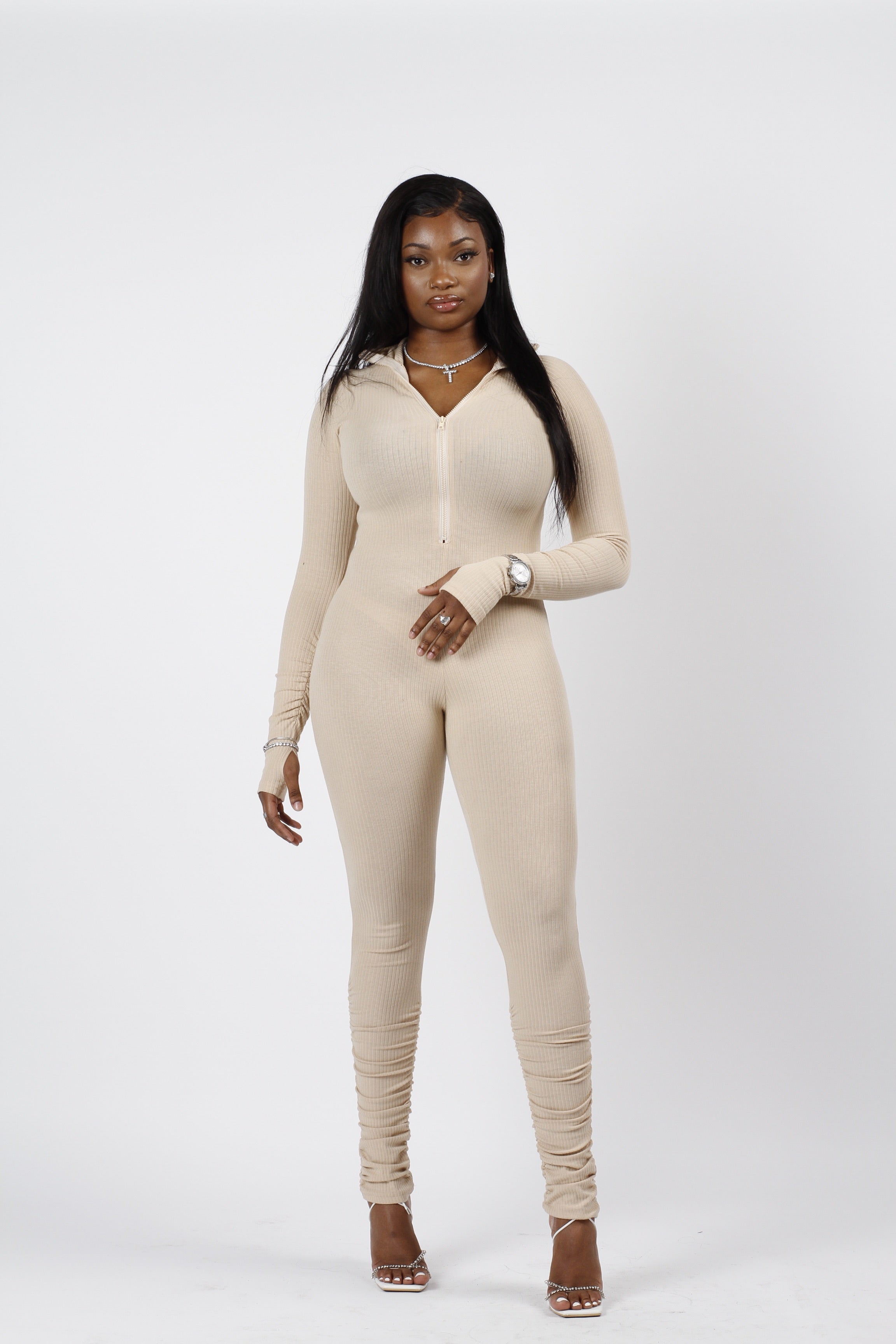Nicole Ruched Leg Jumpsuit in Mink