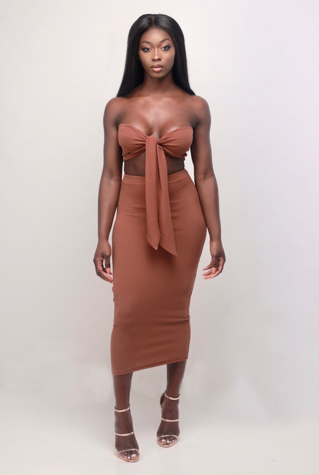 Draya Midi Skirt In Ebony