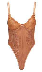 Mink Lace High Leg Bodysuit - Sincerely Nude