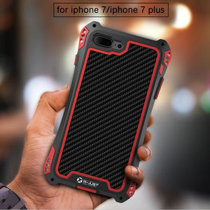 For iphone 7 6S 6 Plus 5 5S SE Shockproof Dustproof Carbon Fiber Gorilla Tempered Glass + Aluminum Metal Armor