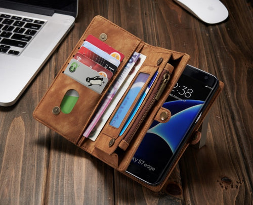 Genuine Leather Case for Samsung Galaxy S8/S8edge/S7/S7 edge Case Wallet Phone woth card holders and zip - Infinite Covers iPhone Cases All the most premium phone Cases both for android and iPhone