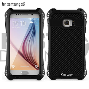 For samsung galaxy s6 R-Just AMIRA Waterproof Shockproof Rugged Carbon Fiber Aluminum Armor Metal for mountains and outdoor activities