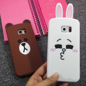 3d cute cartoon bear rabbit ultra thin protective cover case for samsung galaxy S3/S4/S5/S6/S7 edge/S8 plus/note 3/4/5/A5/A7/A8