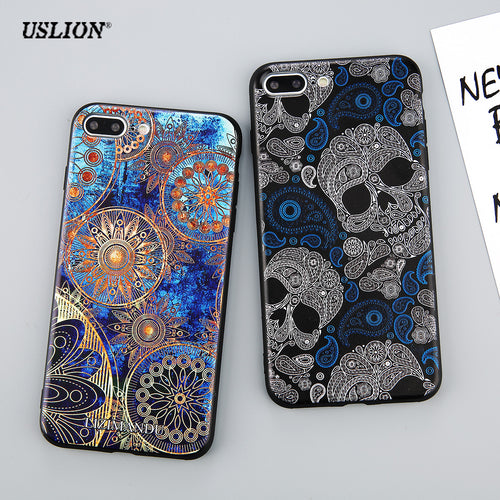 TPU Case For iPhone 7S 7S Plus 6S 6S Plus Retro Fashion Art & Skull Cases Soft TPU Back Cover