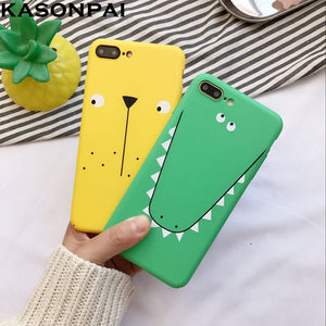 Ultra-thin Cute Cartoon Animal Dog Crocodile Hard PC Back Cover For iPhone 6 6S 7Plus Case