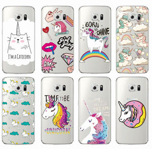 For Samsung Models Cute Unicorn Rainbow Pizza Coffe Cartoon Quote Soft Clear Back Covers For Samsung Galaxy J5 A5 S6 S7 Edge S8
