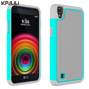 Shock Absorption Case for LG X Power K220DS XPower Soft Rubber Drop Protection Hybrid Dual Layer Armor Defender Protective Cover