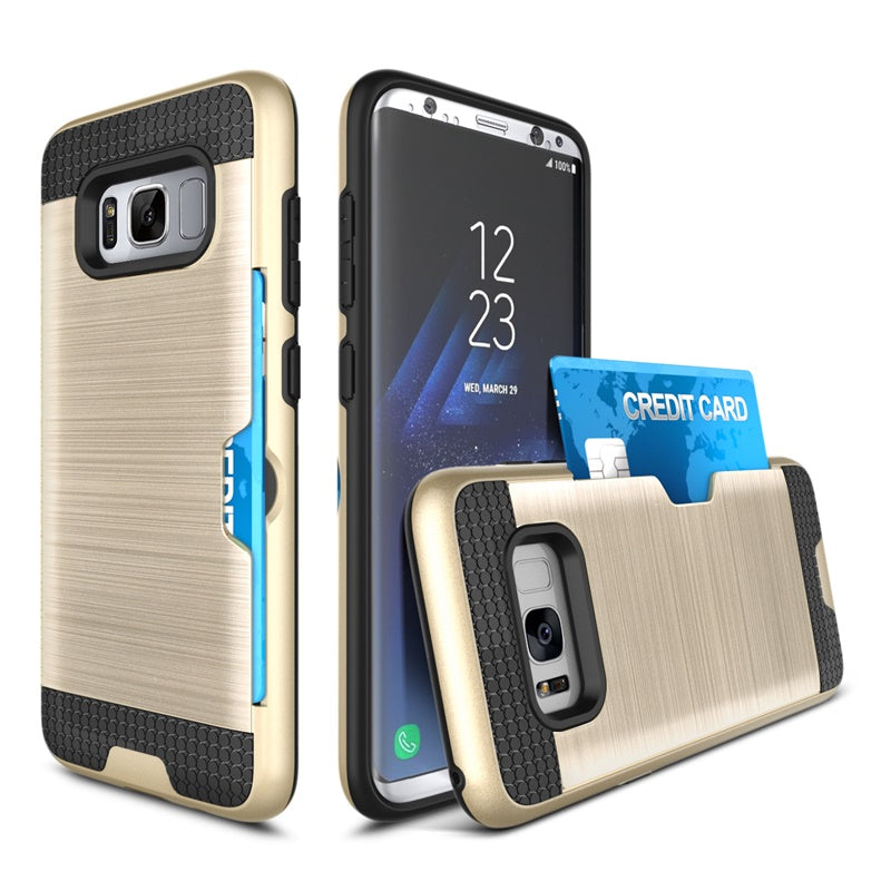 Armor Phone Case For Samsung S8 Armor Silicone TPU PC Brushed Hard Case With Card Slot Holder