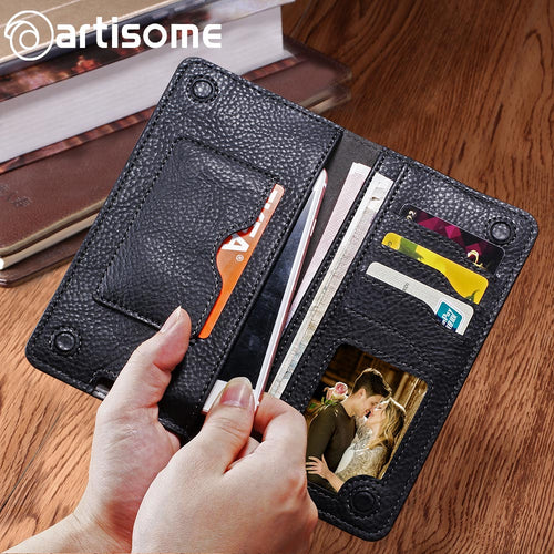 Universal PU Leather Case Unisex Purse Credit Card Holders and Phone Bag For iPhone and Android Phones