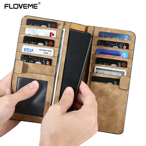 Universal Wallet Case Real Leather & Fabric Pouch Bags with card holders For iPhone/Xiaomi/Samsung/LG/Sony