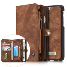 CASEME Retro Split Leather Multi-slot Wallet with card slots and Zip Cover For iPhone 6S/6S Plus 7S/7S plus & Samsung Galaxy S7/S7 edge Cases - Infinite Covers iPhone Cases All the most premium phone Cases both for android and iPhone