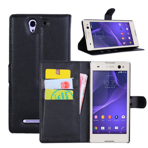 For Sony Xperia C3 Leather flip Case Luxury Wallet Case with Card Holder & Stand - Infinite Covers iPhone Cases All the most premium phone Cases both for android and iPhone
