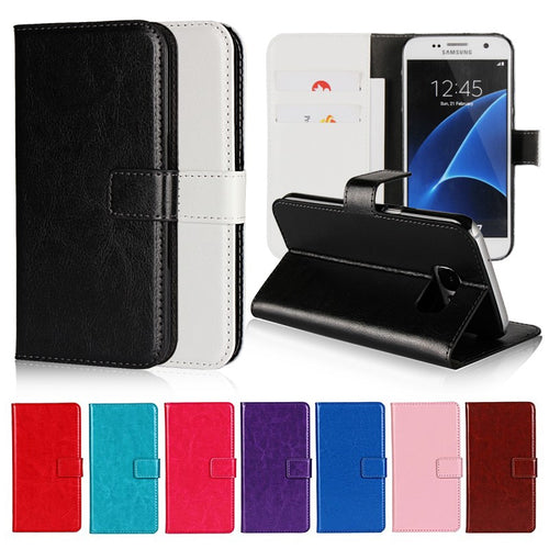 Case for Samsung Galaxy Core Prime G360/S8/S8 Plus/S4/S5 Mini/S6/S6 Edge/S7/S7 Edge Cover Flip Leather