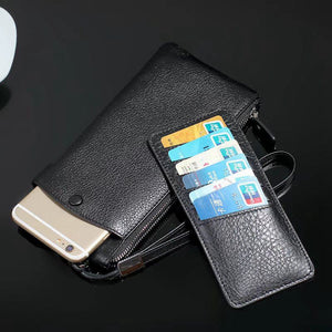 Universal Genuine Leather Pouch For Many Models Zipper Holster For Iphone/Samsung/Sony/LG/Motorola/Lenovo/Huawei
