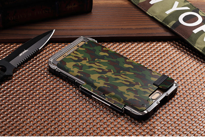 For Samsung Galaxy S7/S7 Edge & S6/S6 Edge/S6 Plus Camo Armor Steel Metal Shockproof Flip Case