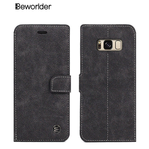 Wallet Leather Phone Case For Samsung Galaxy S8/ S8 Plus Card Slots Phone and Stand