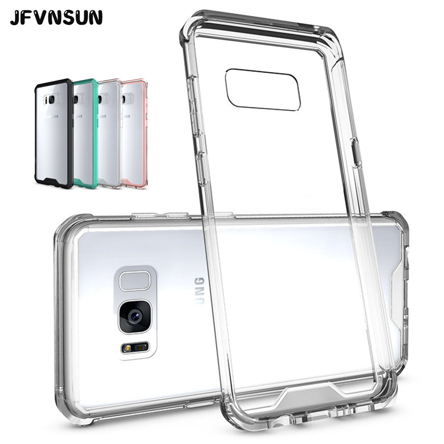 For Samsung S8 S8 Case Anti-knock Crystal Clear Case for SAMSUNG Galaxy S8 / S8 plus Cover Acrylic Silicon TPU Armor Phone Shell