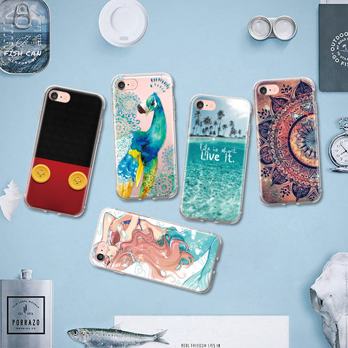 Mandala & Art Patterns TPU Phone Case for Iphone4/4S/5/5S/5C/SE/6/6S/6/6S/Plus 7S/7S Plus Silicone Case Protective Back Cover