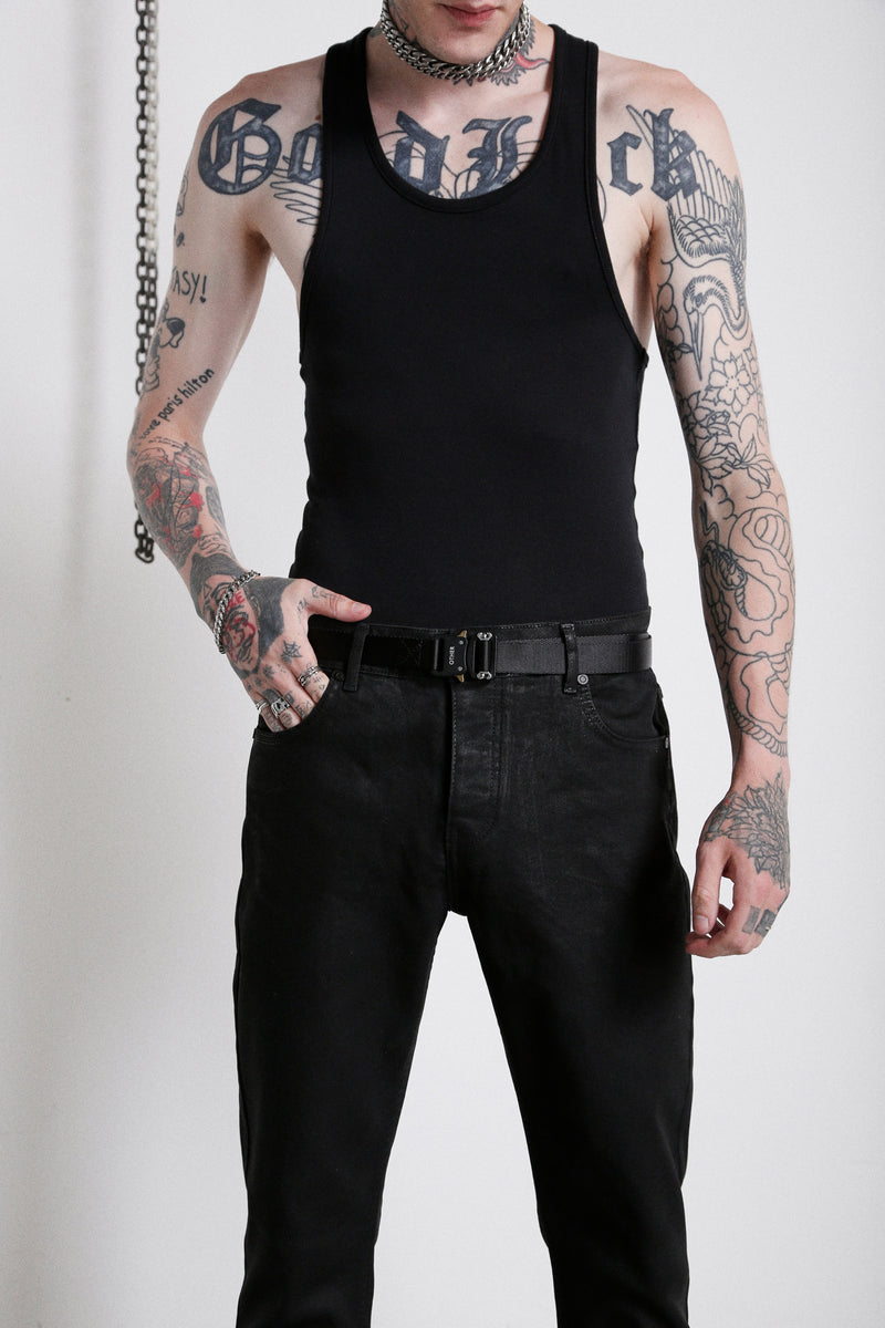 114 Raw Edge Cropped Jeans | Oil Wash - OTHER UK  Rock Goth Punk Urban Gangster Streetwear Skate Emo Motorcycle Biker