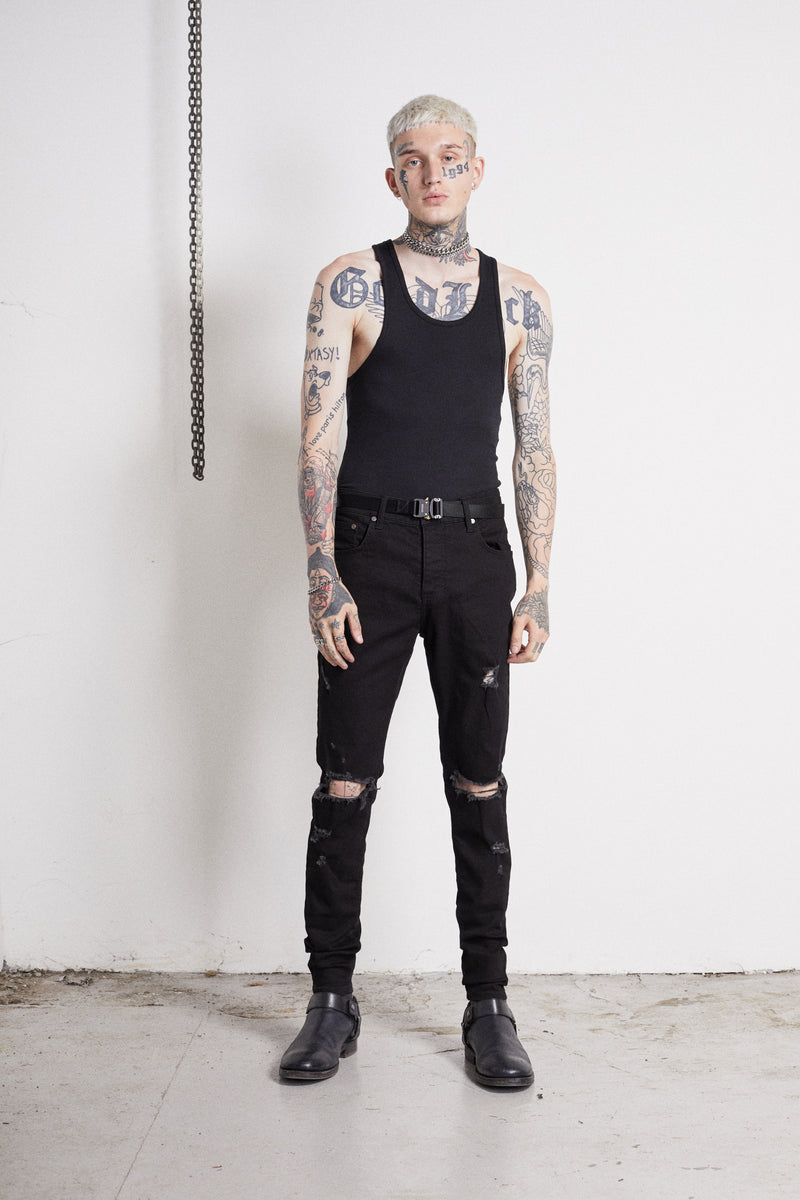 114 Rocker Jeans | Jet Black - OTHER UK Ripped Distressed Destroyed Torn Rock Punk Emo Gangster Urban