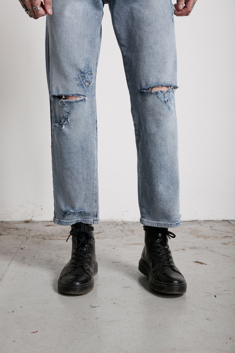 118 Sid Jeans | Vintage Blue - OTHER UK  Ripped Distressed Torn Rock Punk Emo Gangster Urban