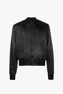 Bomber Jacket | Black Satin