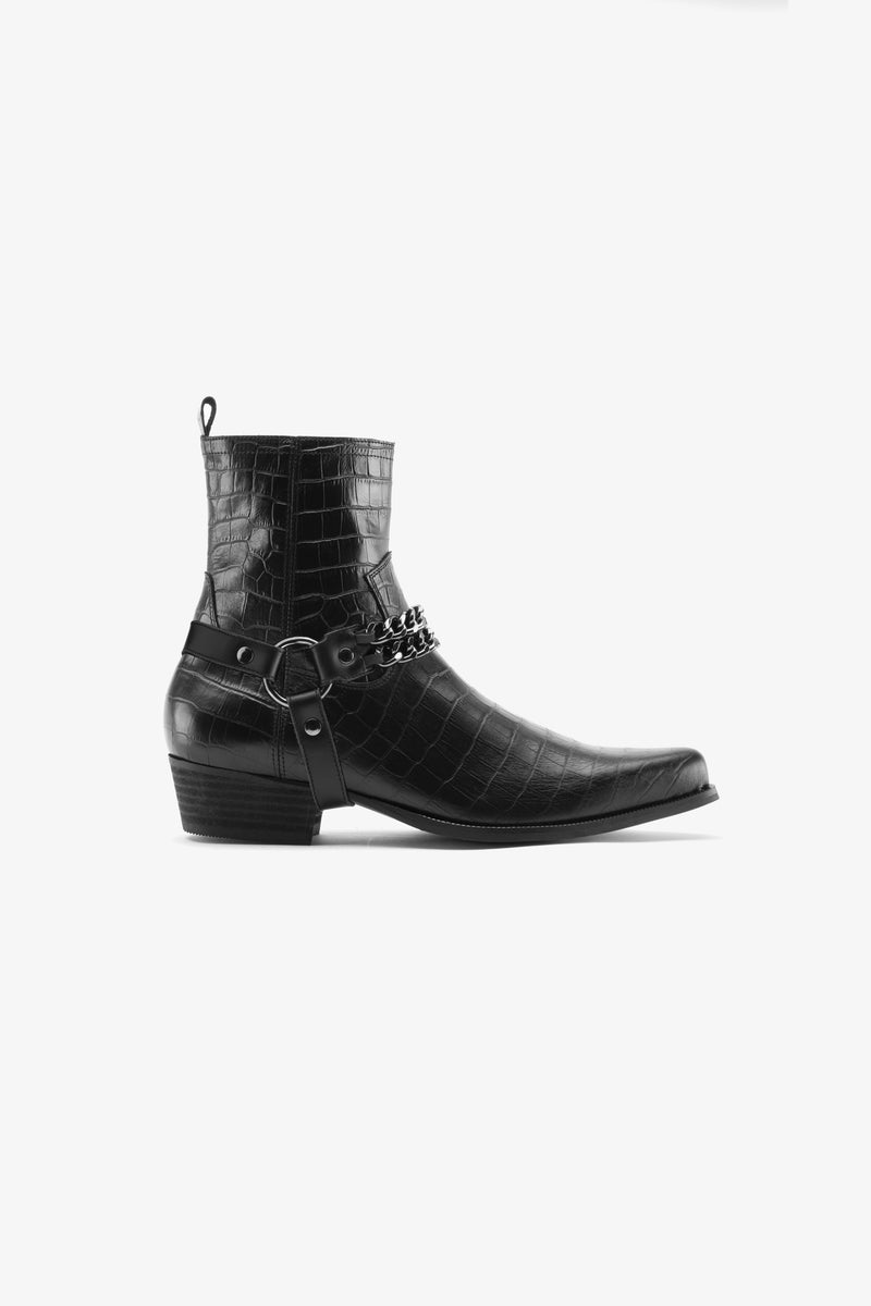 Nomad Western Chained Boot | Black Croc