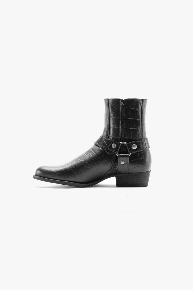 Harness Boot | Black Croc