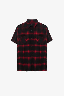Raw Edge Flannel Shirt | Red Tye Dye