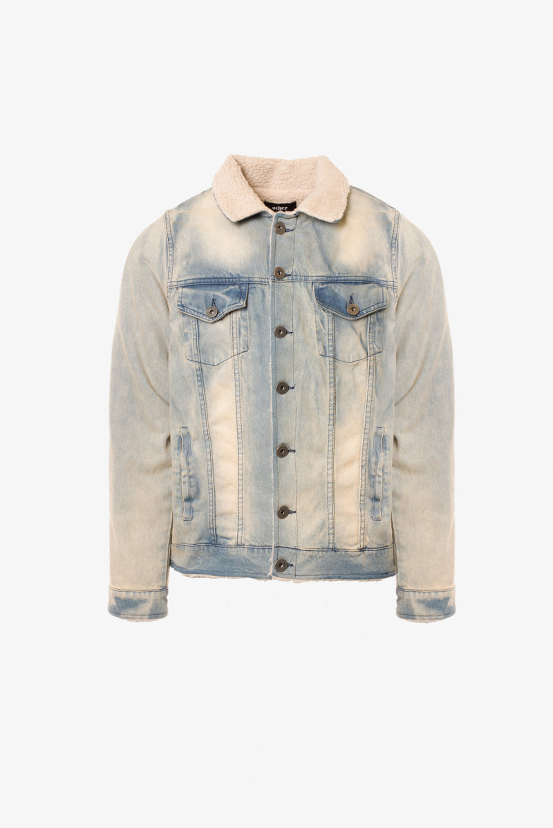 Sherpa Denim Trucker Jacket | Sandstone
