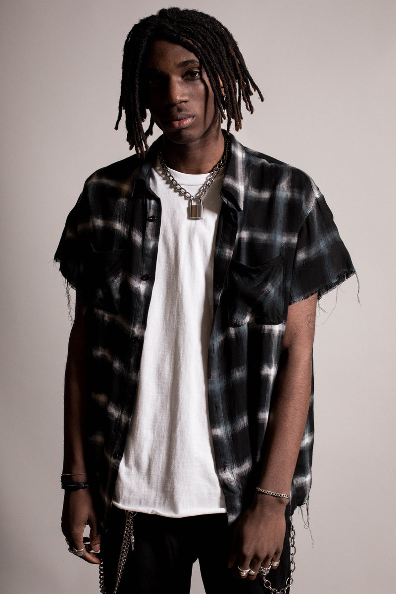 Raw Edge Flannel Shirt | Black Tye Dye