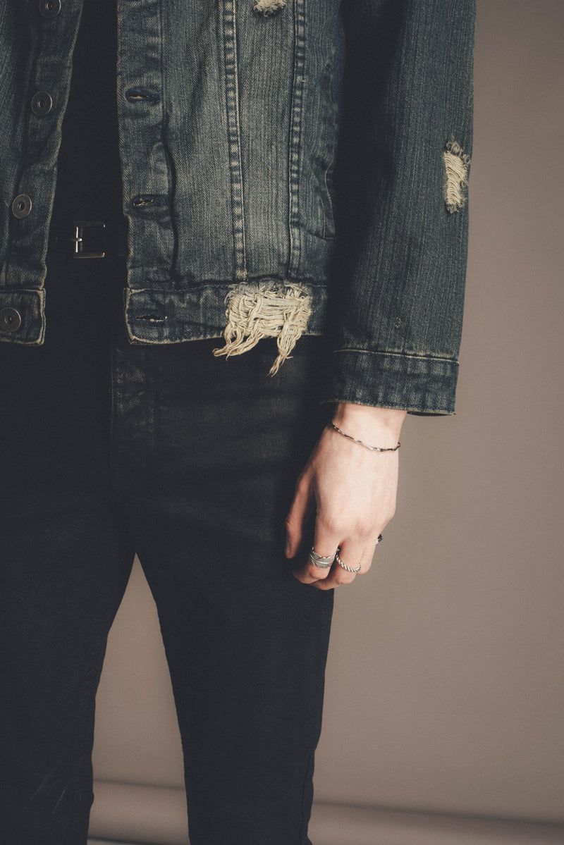 Distressed Denim Trucker Jacket | Dirty Indigo