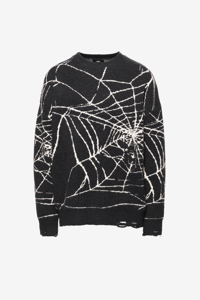 Web Knit Distressed Jumper