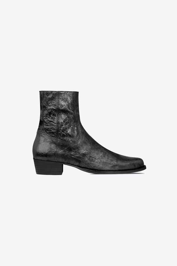 Western Boot | Distressed Black